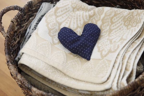 A navy blue heart sachet with white polka dots from You Are My Fave.
