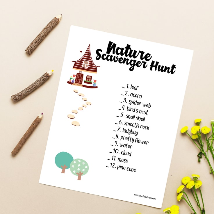 Nature Scavenger Hunt for Kids from One Mama's Daily Drama