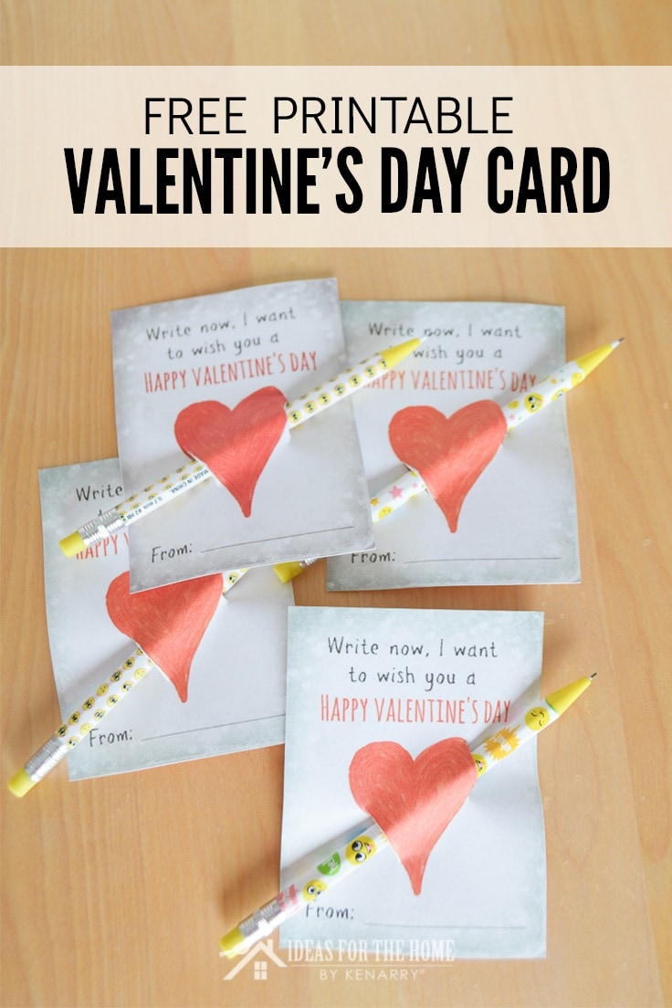 Printable Valentine's Day card for kids to use with pencils or pens through a heart.