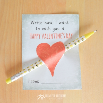 "Free printable pencil Valentines for kids. It says ""Write now, I want to wish you a Happy Valentine's Day"""