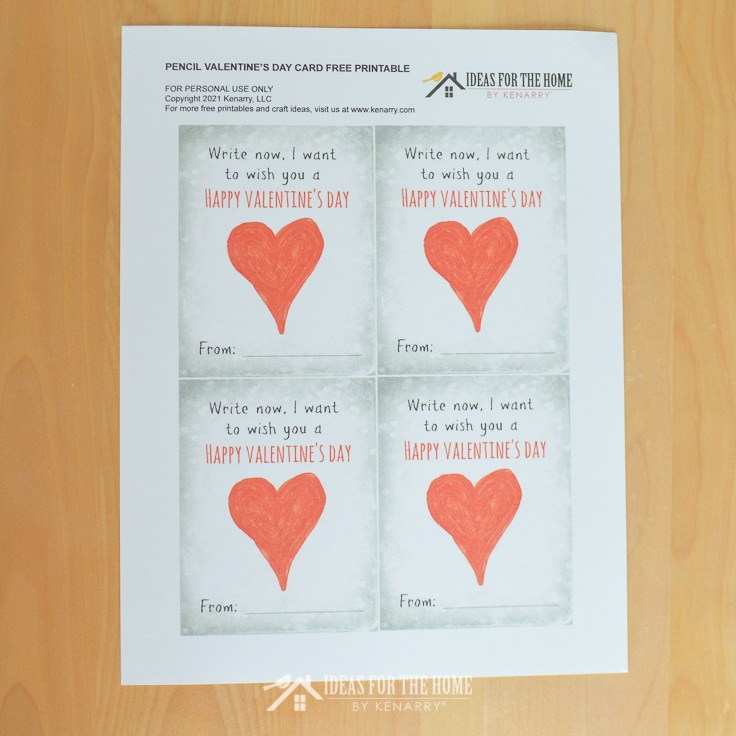 Printed page of 4 cards that read