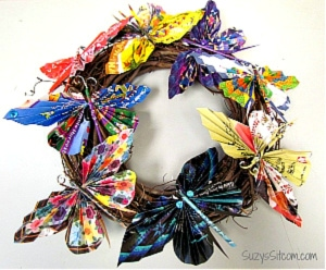 Recycled paper butterfly wreath from Suzy's Sitcom