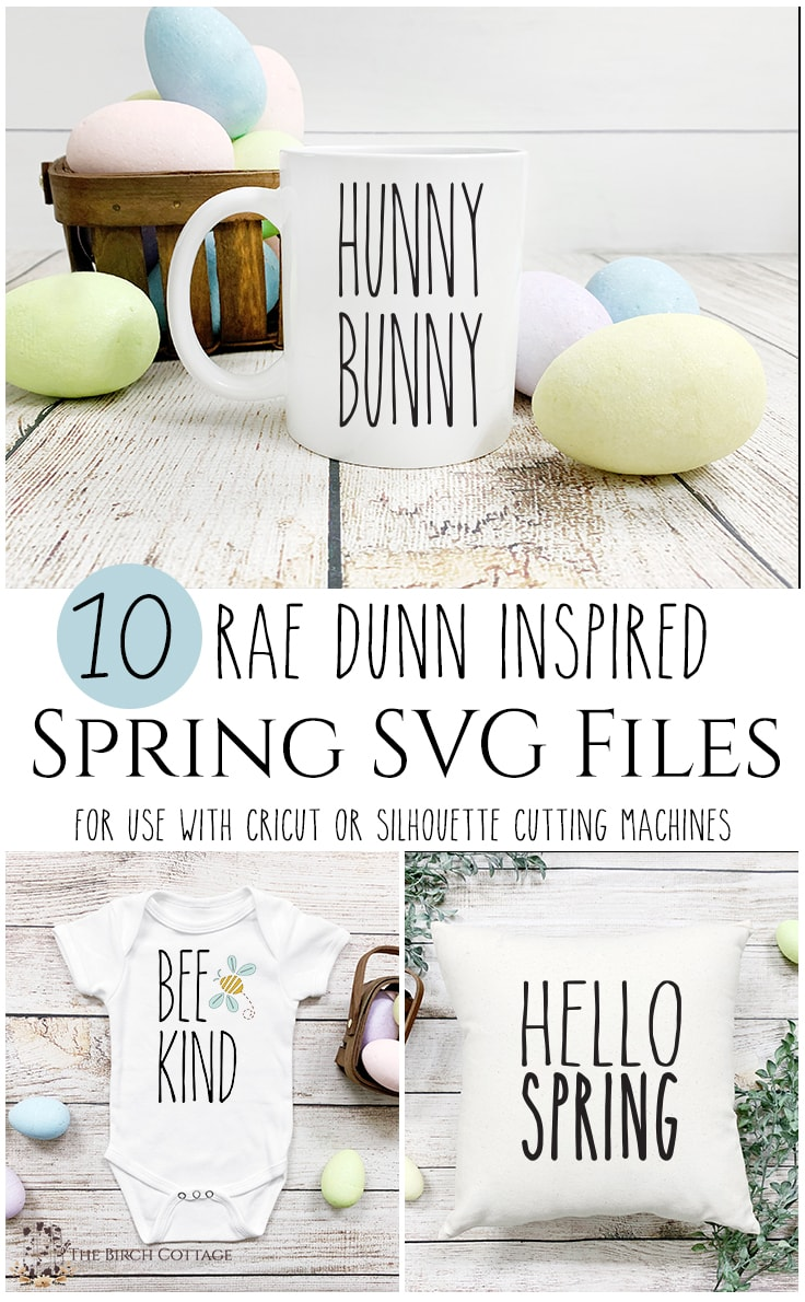 Mug, onesie, and pillow with Rae Dunn inspired Spring SVG files for use with Cricut or Silhouette cutting machines.