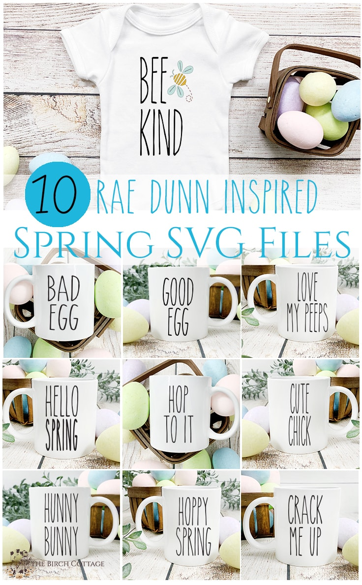 Collage of images showing 10 Rae Dunn-inspired spring SVG files on a baby onesie and mugs.