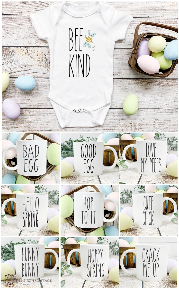 Onesies and coffee mugs with Rae-Dunn inspired words on them.