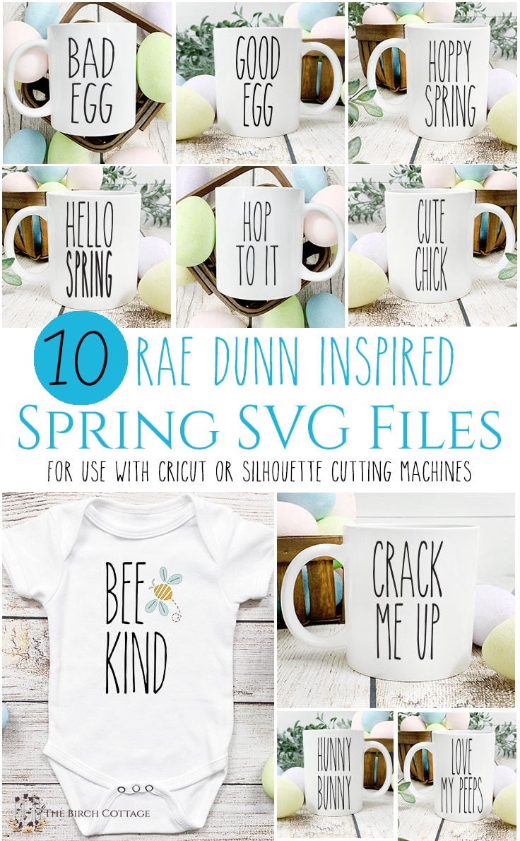 Collage of images showing 10 free Rae Dunn inspired Spring SVG files on coffee mugs and a onesie.