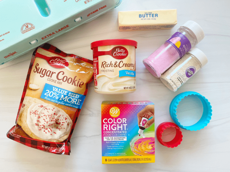 Here's the ingredients to make our Bunny Butt Sugar Cookies, you might even have it all in your baking cabinet already.