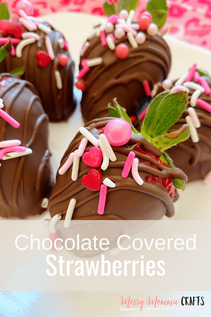 Chocolate covered strawberries with pink and red Valentine's Day sprinkles.