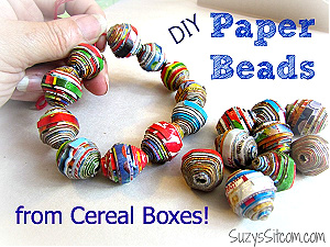 DIY paper beads with cereal boxes from Suzy's Sitcom.