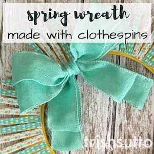 Spring wreath made out of colorful clothespins from Trish Sutton.