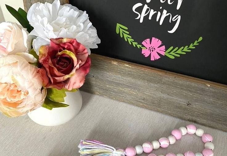 diy wood bead spring garland