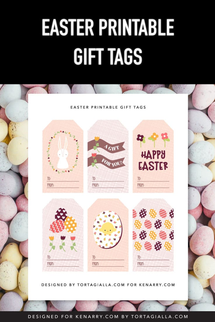 Preview of printable gift tags PDF on background of pastel Easter eggs.