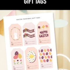 Preview of Easter printable gift tags PDF designs.