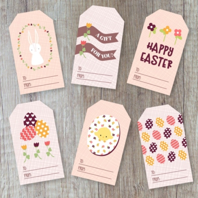 Preview of 6 Easter gift basket printable gift tag designs.