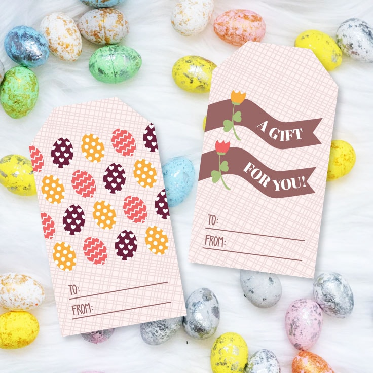 Preview of two printable gift tag designs on background of chocolate egg candies.