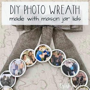 Photo wreath made with mason jar lids from Trish Sutton.