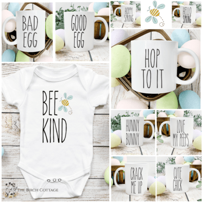 Use these 10 free Rae Dunn inspired Spring SVG files to create custom mugs, t-shirts, pillows, baby onesies and more!