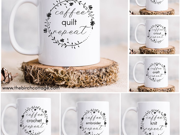 You can easily make your own custom mug with these free coffee craft repeat SVG cut files for Cricut and Silhouette cutting machines.