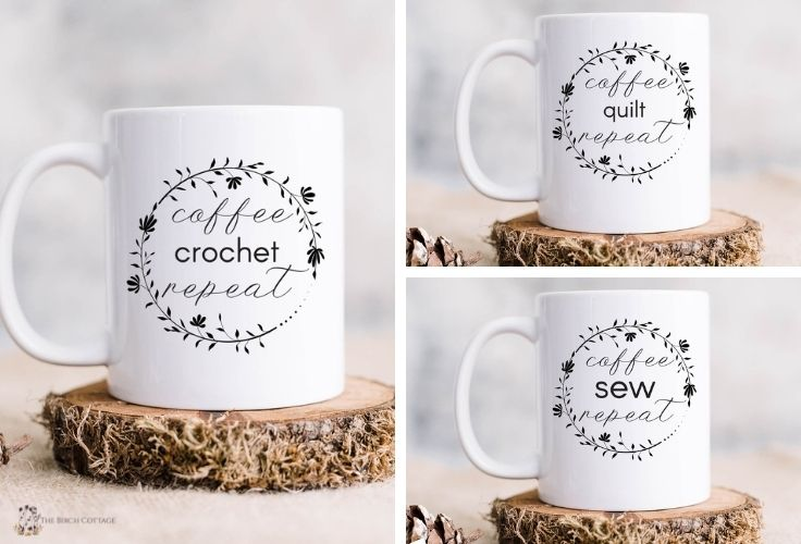 3 ceramic coffee mugs with coffee crochet repeat, coffee quilt repeat and coffee sew repeat.  Mugs also feature a floral line drawn wreath with text in the middle.