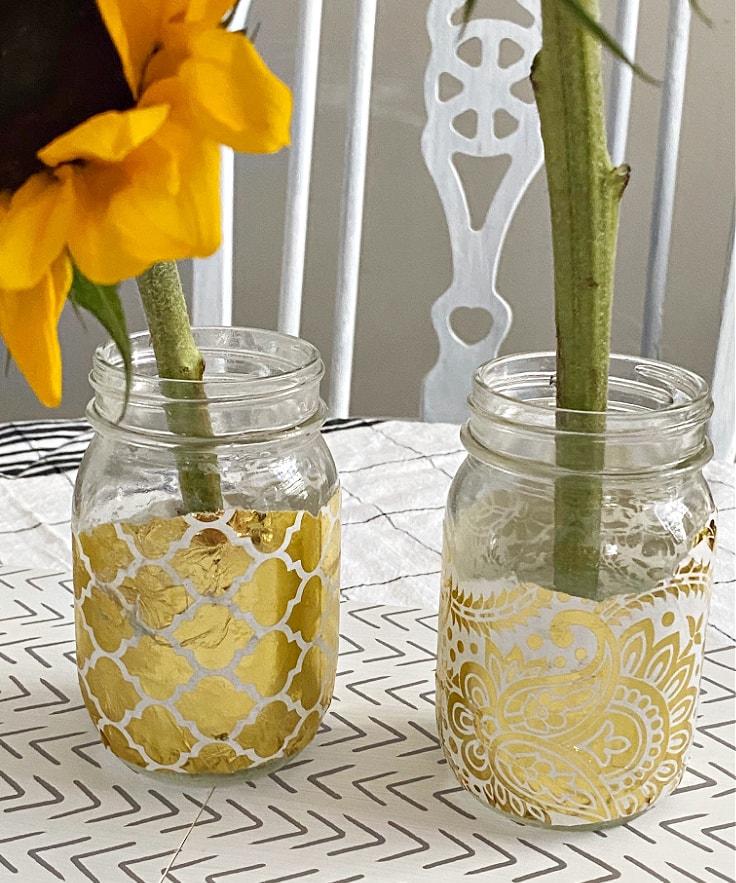 Gold foil mason flower jars.