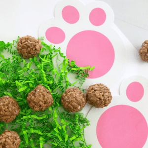 Easter bunny poop rice krispies treats from Messy Momma Crafts.