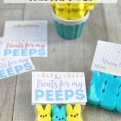 Treats for My Peeps Easter Gift with free printable gift tags on a wood backdrop.