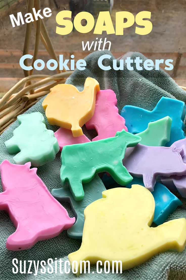 Colorful melt and pour soaps with a variety of shaped cookie cutters.