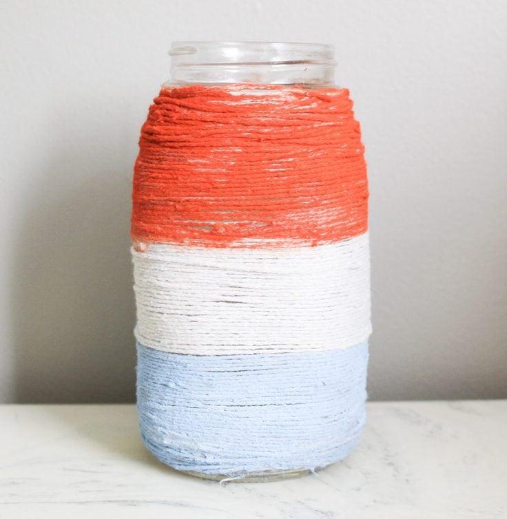 Patriotic twine mason jar from Our Crafty Mom.