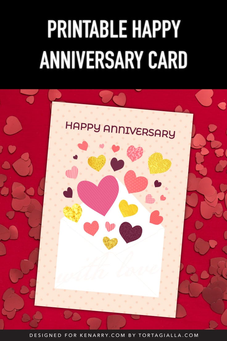 Preview of happy anniversary card on top red background with red heart shapes.