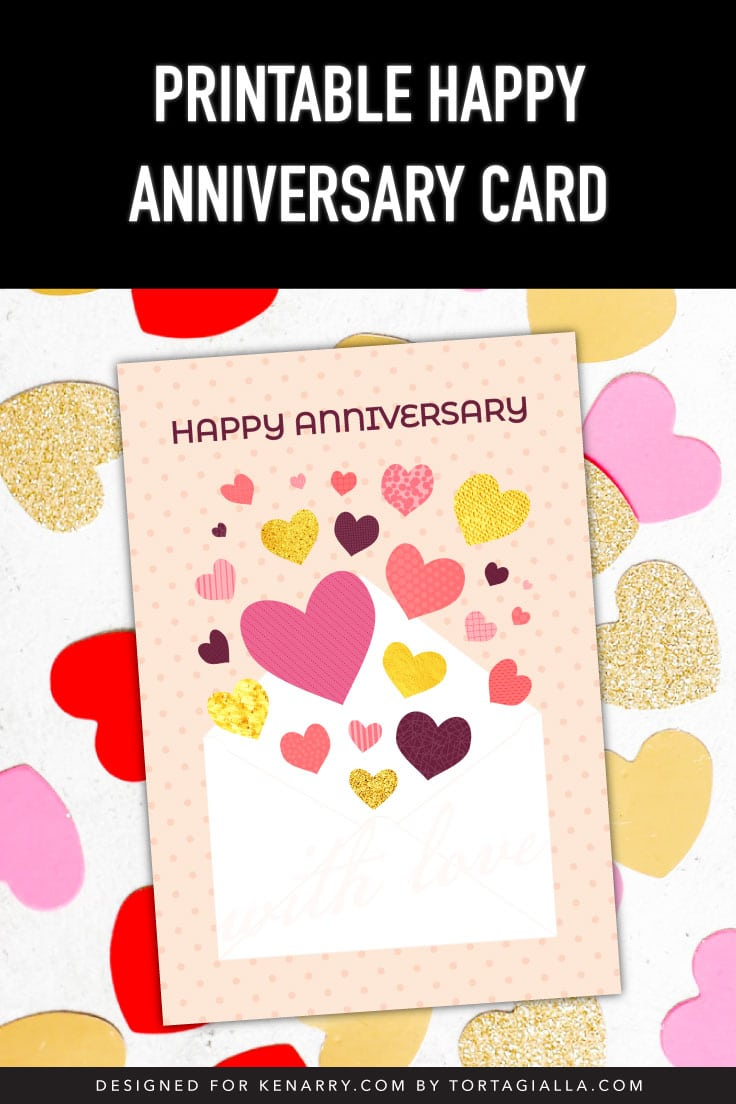 Preview of happy anniversary card on top of glitter, red and pink heart shapes.