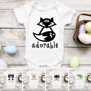 Baby onesie project with 5 adorable animals from The Birch Cottage.