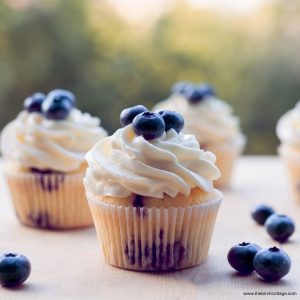 Blueberry cupcakes with cream cheese frosting from The Birch Cottage.