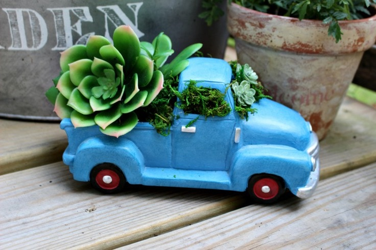 Mini truck succulent planter from Our Crafty Mom.