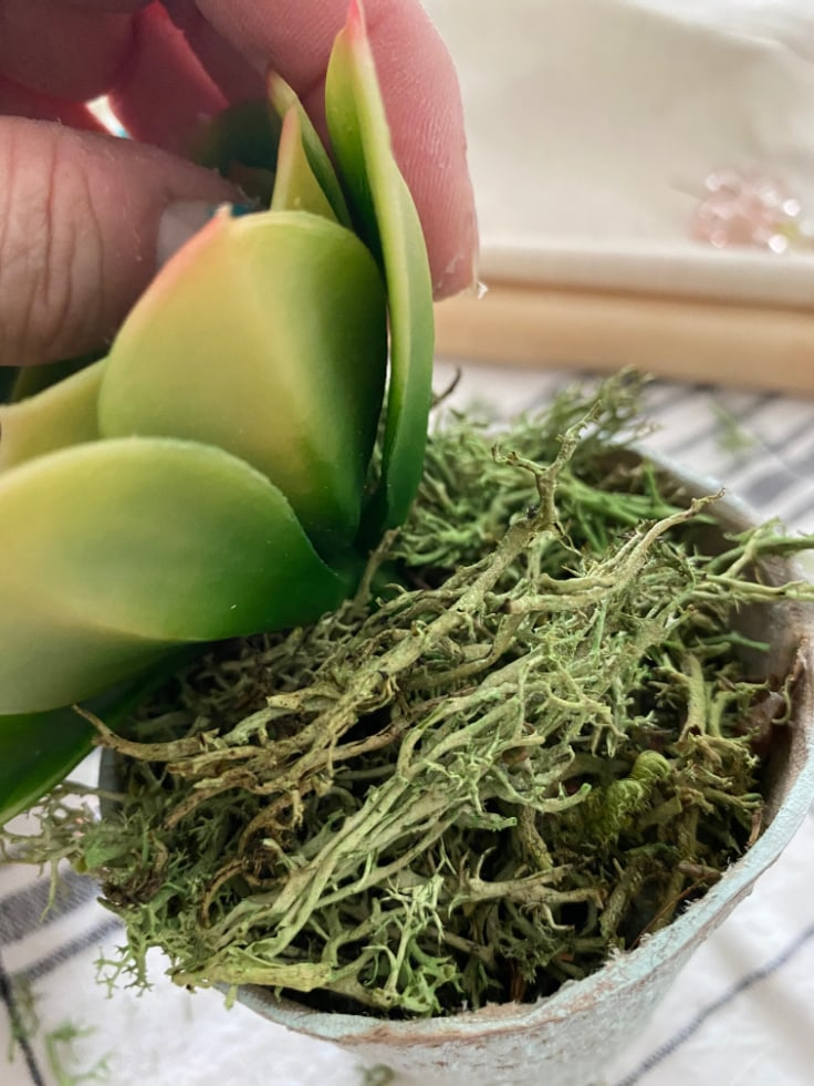 Adding moss and a faux succulent to the pot.