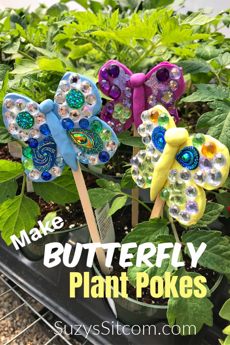 Make butterfly plant pokes with clay, gemstones, and craft sticks.