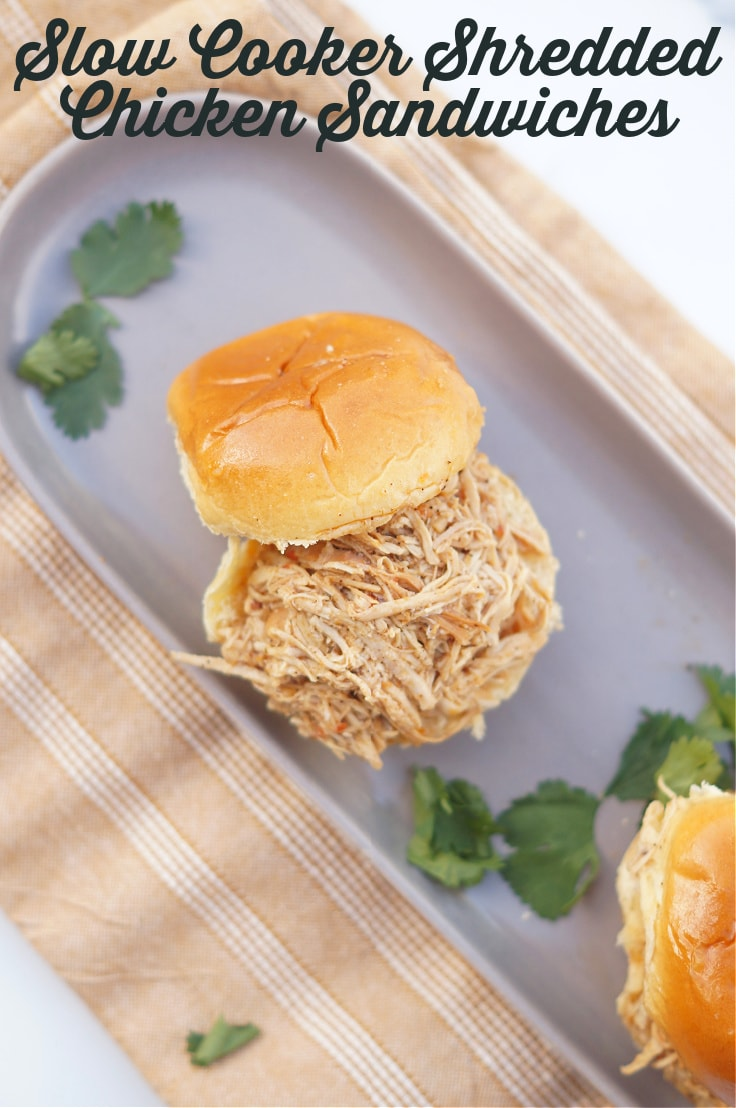 Slow cooker shredded chicken sandwiches.