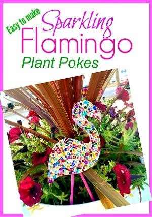 Sparkling flamingo plant pokes from Suzy's Sitcom.