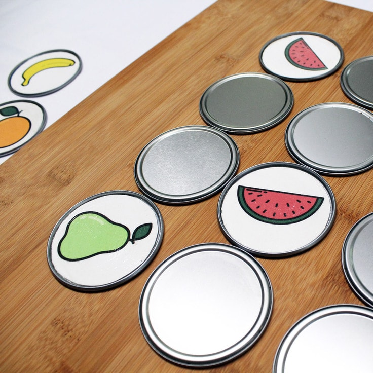Printable Fruit memory game from One Mama's Daily Drama.