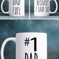 Number 1 Dad Father's Day mug with Free SVG Cut Files by The Birch Cottage.