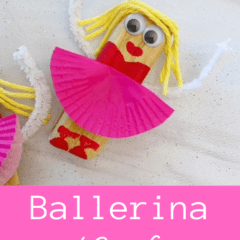 Wooden ballerina craft for kids with a cupcake liner tutu.