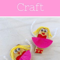 Ballerina craft from a wood chip and cupcake liner.