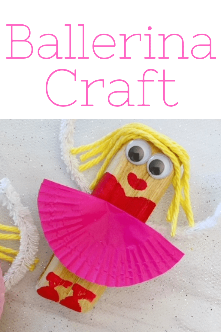 Ballerina craft made from a wood chip decorated with paint, wiggly eyes, yarn, and a cupcake liner tutu.