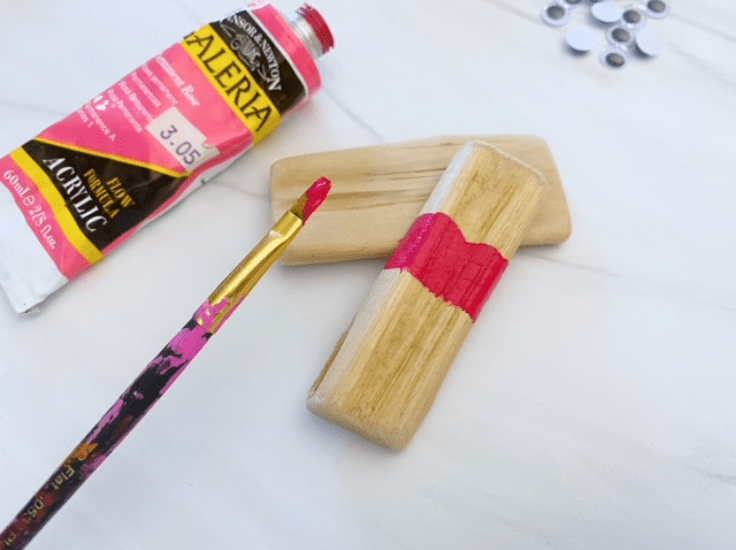 Painting a piece of wood red