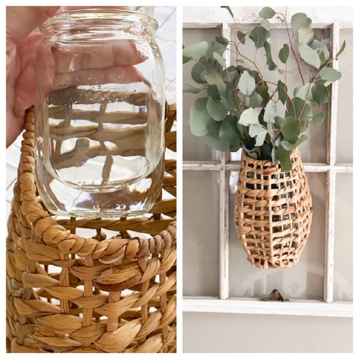Split screen showing mason jar with water and eucalyptus in basket.