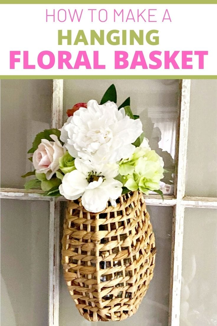 Hanging floral rattan basket with text overlay that reads