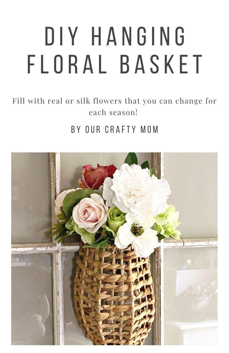 Rattan hanging floral basket on window