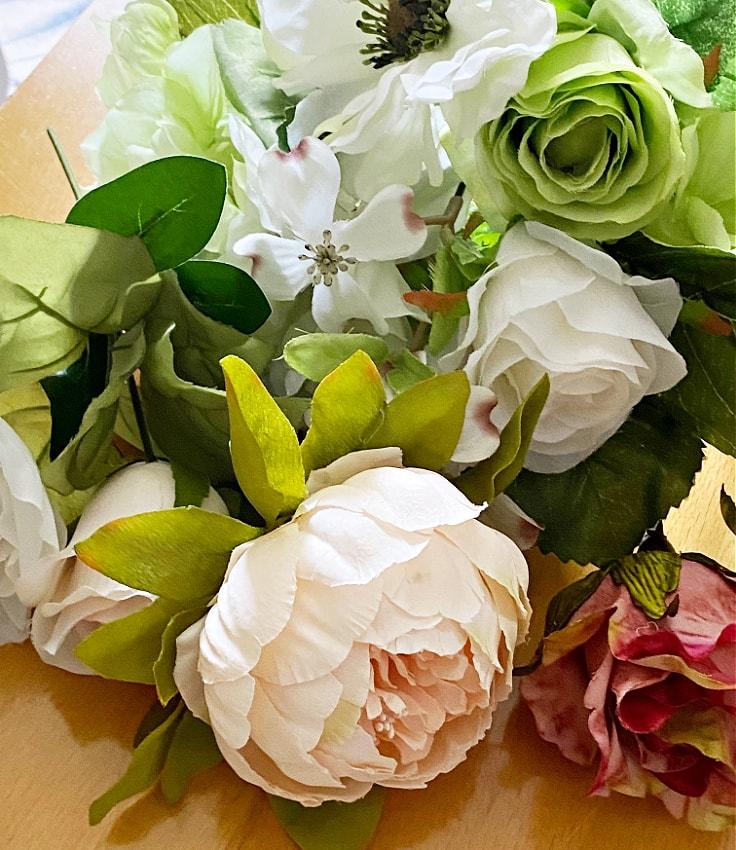 Silk summer florals for hanging basket.