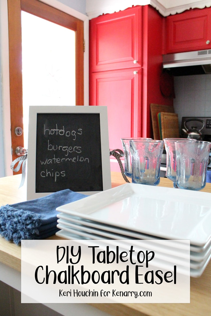Tabletop chalkboard easel with
