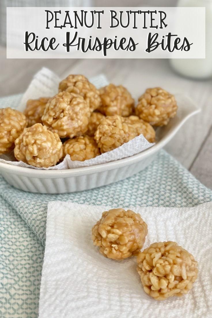 Peanut butter Rice Krispies bites snack balls.