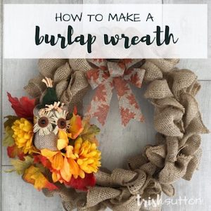 Burlap wreath with flowers from Trish Sutton.